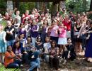 certificate program participants doing gator chomp outside
